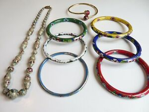 Vintage Cloisonné Multi Colors ~Enamel ~Beautiful Bangle Bracelets + Necklace