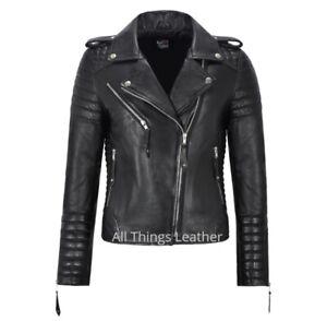 Ladies Real Leather Biker Jacket Classic Biker Fashion Womens 2260 Black Jacket