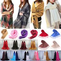 Women Winter Pashmina Wool Long Neck Warm Shawl Scarf Wrap Tassel Stole Scarves