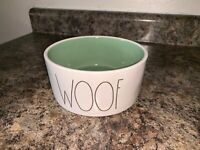 Rae Dunn Woof Large Dog Pet Food Bowl Dish Ceramic Ivory Artisan Cute New