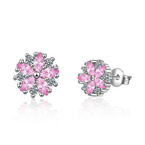 UK Pink Flowers Cubic Zirconia Earrings Sterling Silver Gift Boxed