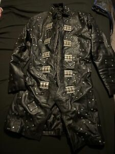 Mens handmade leather studded jacket new style pure leather studded coat