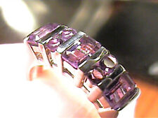 sterling silver 925 ring 8 Brazilian Amethyst natural band bold elegant SIZE 8