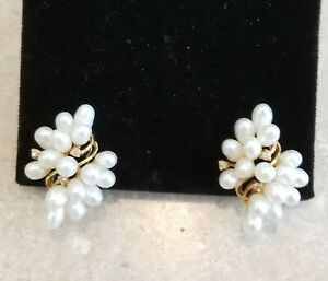 Vintage Pearl Earrings with diamond  chips and gold omega backs  Beautiful!