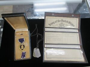 Purple Heart Medal plus Dog Tags, Patches & Discharge Papers Original box