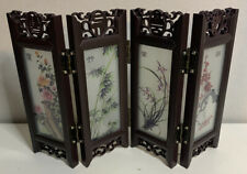 Chinese Vintage Glass Antique Mini Folding 4 Screen Dividers Desktop Decoration