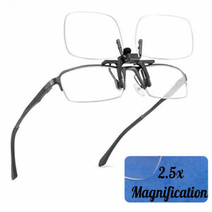 Clip On Flip Up Magnifying Glasses Spectacles 2.5x Magnification Magnifiers #