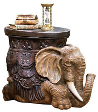 African ELEPHANT SCULPTURE TABLE Side Cocktail Bar Den Office Foot Stool Display