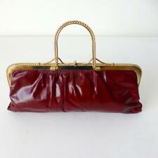 ART DECO VINTAGE Women's Bag Burgundy Leather Handbag  Purse
