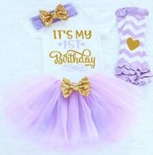 1st Birthday Baby Girl bodysuit Tutu Headband & Leggings Purple Outfit NWT