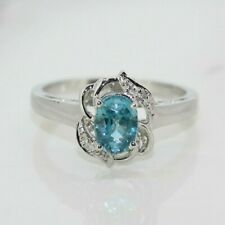 9ct White Gold Blue Topaz and Diamond Cluster Ring (Size N)