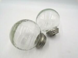 Pottery Barn Vintage Glass Ball Finial Set of 2 Antique Pewter Finish #9965