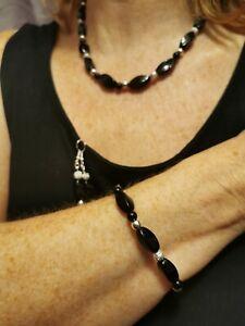 Gemstone necklace, black onyx necklace bracelet and free earrings