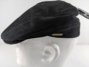 NEW Stetson Men XL Black Pig Suede Newsboy Hat Cabbie Cap Lined Outdoor Casual