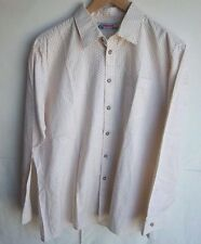 ALPHORN-Men's Trachtenmode L/S Button Front Shirt Beige/Brown Size 41 German