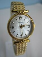 Fossil PC-9678 Gold Tone Quartz Analog Ladies Watch, New Battery