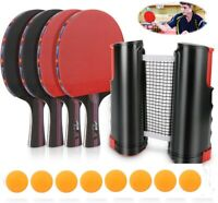 Table Tennis Ping Pong Set With Retractable Net & 4 Bats Rackets & 8 Balls