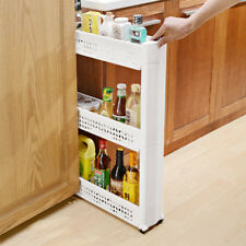 Kitchen Bathroom Storage Rack Crevice Shelf Holder 3 Tier on Wheels Space Saving