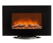 35� Burkfield Stonewall Black Electric Fireplace, Adjustable Led Flame