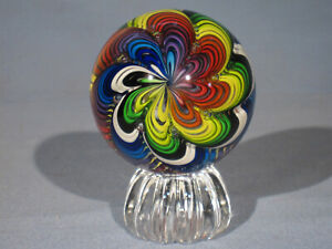 Marbles: Hand Made Art Glass James Alloway 11 Color Rainbow #43     2.86inch
