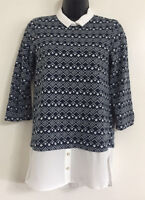 NEW EX NEW LOOK: Diamond Print Peter Pan Collar 2 in 1 Blouse Top Size 8-20