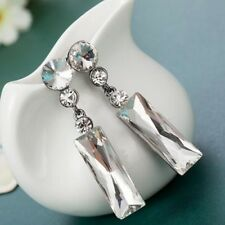 Boucles d'oreilles Swarovski® Éléments rectangulaire transparentes top qualité