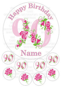 90th Birthday edible 7.5 Inch Round Iced Icing Cake Topper + 8 cupcake toppers
