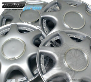 """4pc Qty 4 Pop On Wheel Cover Rim Skin Cover, 15"""" Inch #B014 Hubcap Silver"""