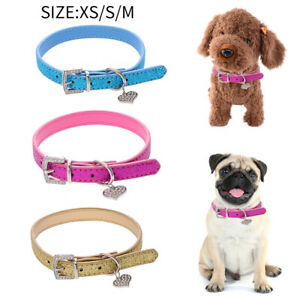 Pet Puppy Dog Collar PU Leather Glitter Bling Rhinestone Necklace Neck Strap