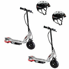 Razor E125 Rechargeable Kids Electric Motor Scooters, Black (2 Pack) + Helmets