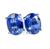 8x6 mm Oval Natural Blue Kyanite Gemstone 925 Sterling Silver Stud Earring