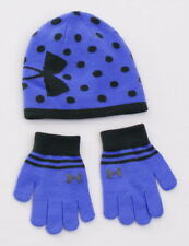 Under Armour Coldgear Purple & Gray Knit Beanie & Gloves Youth Girl's 4-7 Years