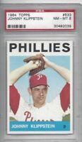 1964 Topps baseball card #533 Johnny Klippstein, Philadelphia Phillies PSA 8