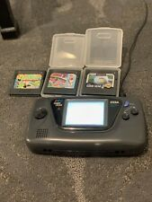 Sega Game Gear Handheld Console - Black With 3 Games And Power Supply Cord A