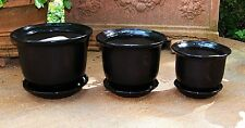 "7 3/4"" Set Of 3 Black Ceramic Indoor Planters Small Flower Pots Decorative"