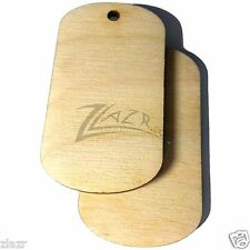 20 Wooden Dogtag 1-Hole Craft Pendant Shape Jewelry Supply Natural Birch Wood