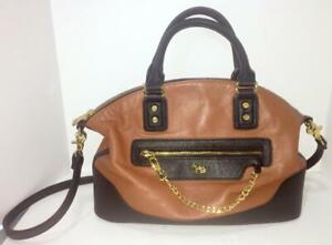 Emma Fox Leather Shoulder Bag with Adjustable Strap Black Leather and Cognac (ca