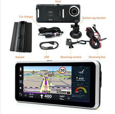 7'' Wifi HD DVR Dual Lens Rear view Camera Car Dash GPS Navigation Android OS