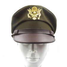 WW2 US Army Air Corps Officer Crusher Hat Military Cap & Golden Eagle Badge XL