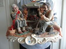 """Rare Large Capodimonte Porcelain Figurine Group The Old Folk by Ermete 12.5"""""""