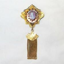 c1880 14k Gold Hard Stone Tiered Cameo Brooch Cannetille & Chased Foxtail Tassel