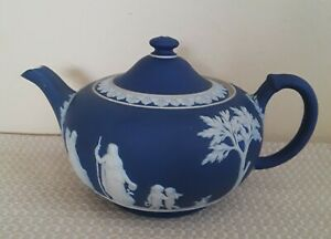 Large Wedgwood Jasperware England Portland Blue Teapot
