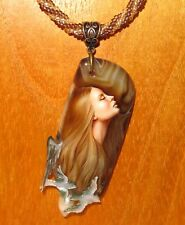 Pendant Stone & Shell SHENSHIN ANGEL GIRL hand painted beaded necklace signed