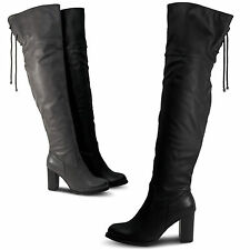 Damen Overknee Stiefel Boots Stiefeletten Glitzer HIgh Heels gefüttert ST690 (38, Braun)
