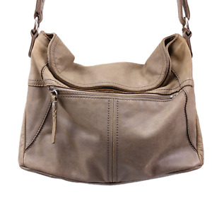 The Sak Esperato Flap Hobo Purse Taupe Gray Leather Crossbody Distressed Read