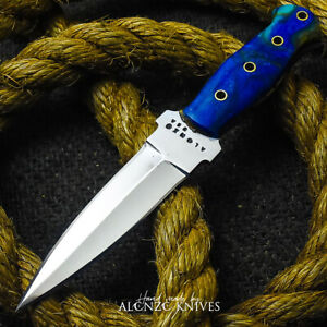 ALONZO KNIVES USA CUSTOM HANDMADE COMBAT DAGGER 1095 KNIFE CORELON HANDLE 24622