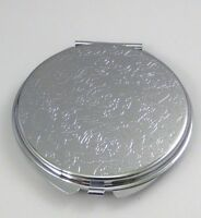 Embossed Flower Compact Makeup Mirror Silver Tone Two Sided Magnifying