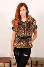 leopard print faux fur body warmer gilet with faux leather waist belt