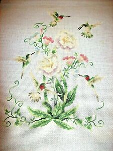 Hand Crafted Tapestry/Needlepoint-Depicting Humming Birds & Flowers  Design