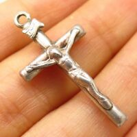 Vtg 925 Sterling Silver Religious Crucifix Cross Hollow Pendant